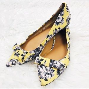 J. Crew | Yellow Floral Pointed Toe Amelia Flats 9